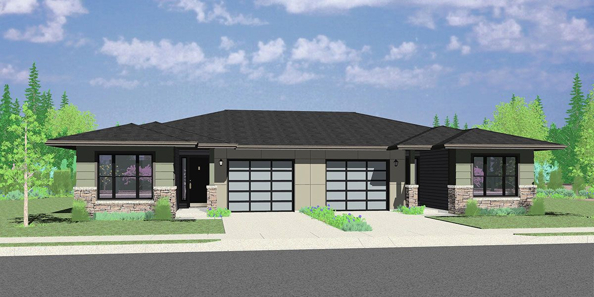House Front Color Elevation View For D 623 Modern Prairie Style Ranch Duplex House Plan Prairie Style Houses Duplex House Plans Multigenerational House Plans