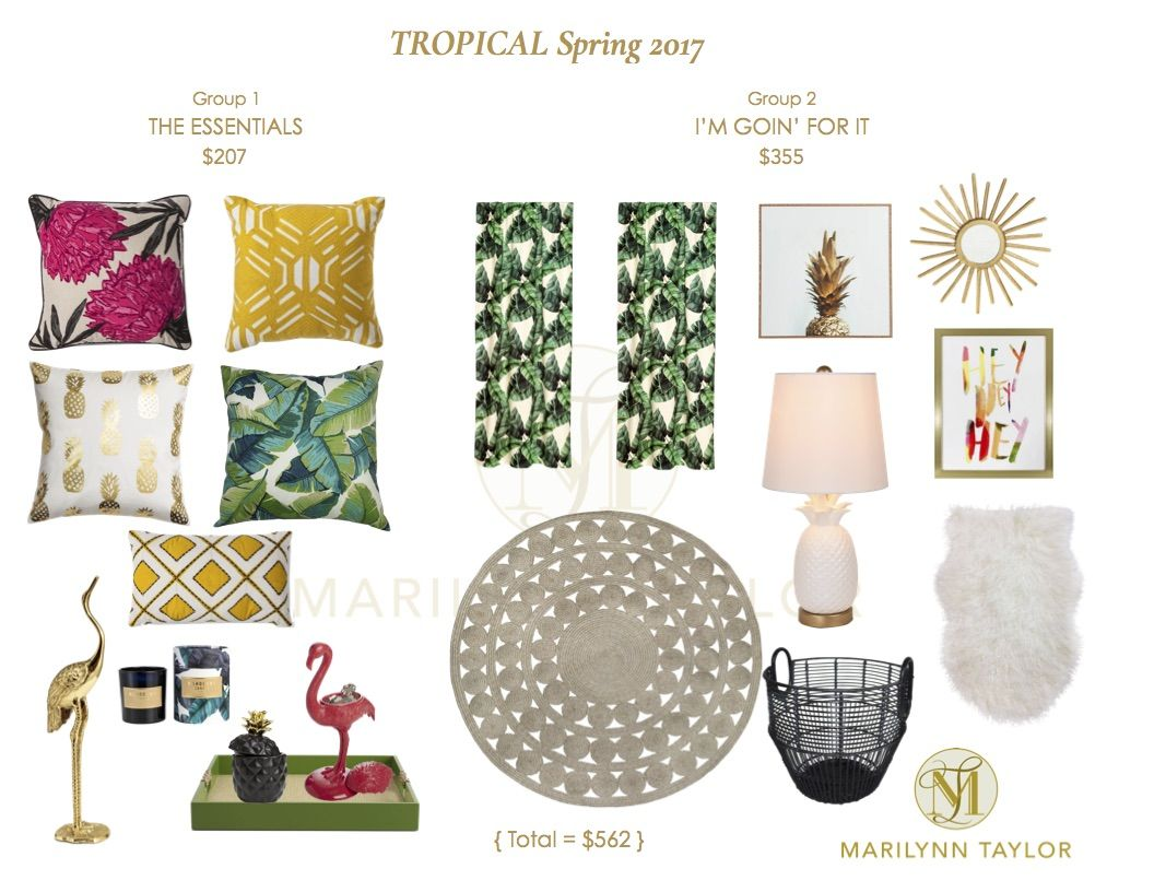 A ready to buy accessory collection mood board to refresh your spring decor! A tropical jungle inspired design plan for a spring decorating, featuring magenta, hot pink, green, yellow, brass, gold & pineapples! We have done all of the shopping for you so you don't have to! Perfect for a your colorful living room or bedroom design.   Tropical Spring 2017 Roundup   Marilynn Taylor Interior Designer   The Taylored Home