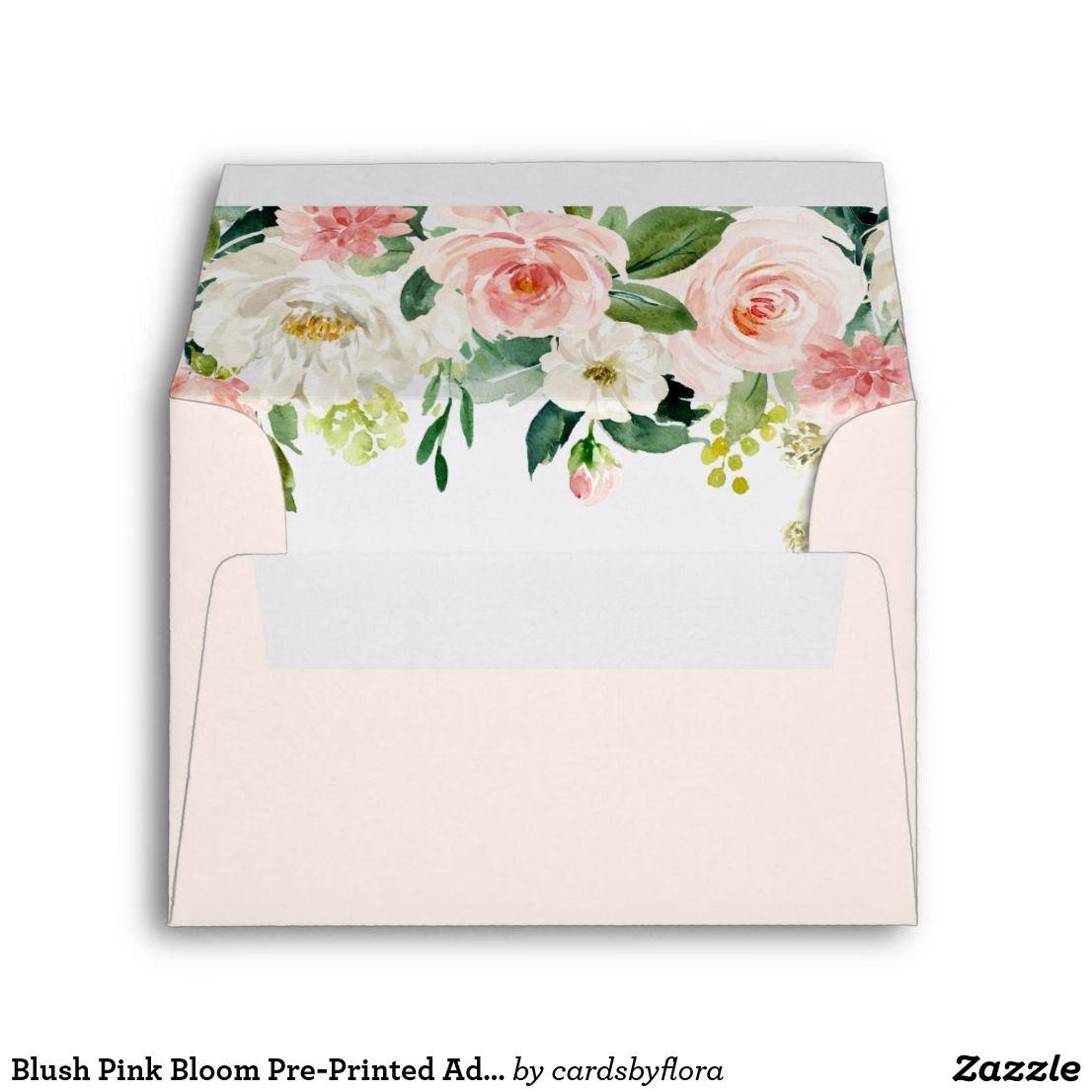 Blush pink bloom preprinted address rsvp envelope