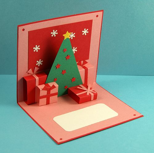 Postal navidad arbolregalos postales navidad originales - Como hacer tarjetas de navidad faciles ...