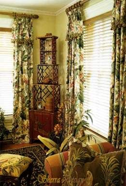A muted color scheme and a simple self-valance design give these curtains a comfortable, always been there look that's not too feminine for any room