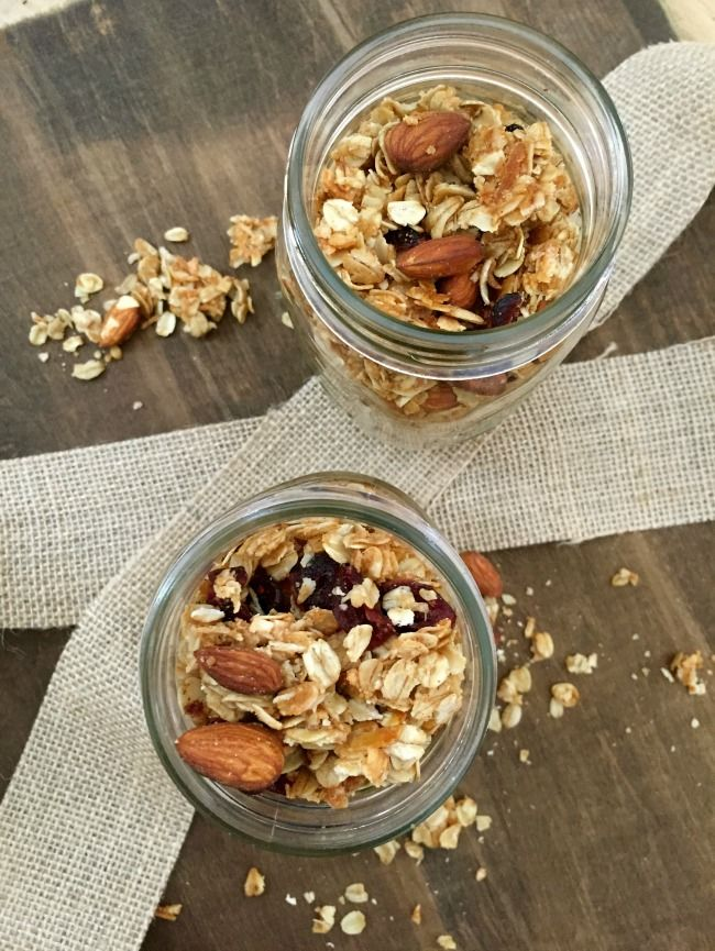 Coconut Cranberry Chia Seed Granola is simple to make with oats, coconut, dried cranberries, chia seeds, almonds and coconut oil.  This makes a great breakfast with yogurt and fresh fruit or a snack while you are on the go. // A Cedar Spoon