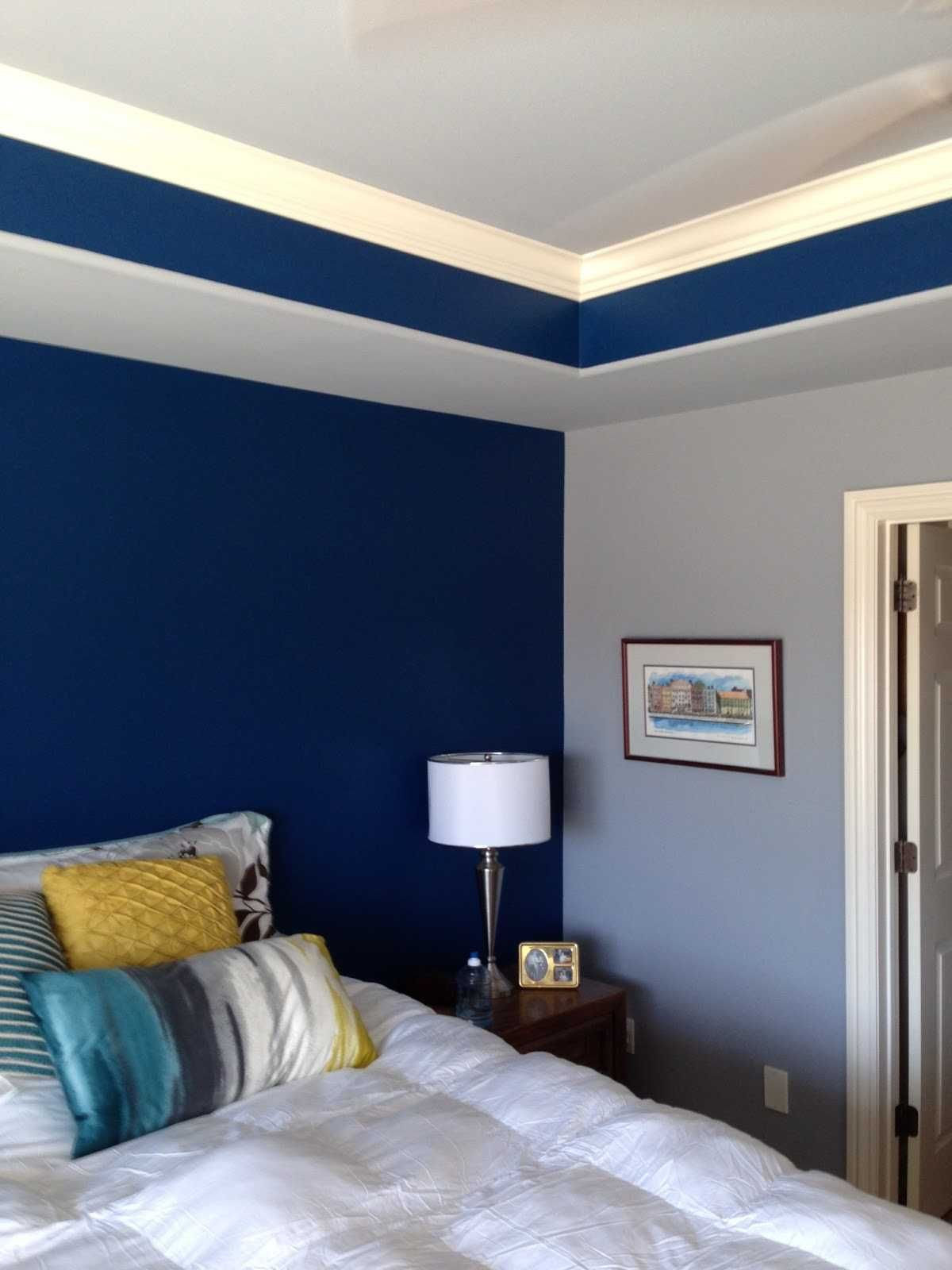 Two Colour Wall Paint Bedroom Color Combination Blue Bedroom