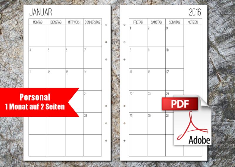 Sonderformate - Filofax Monatsübersicht 2016 Personal PDF Print - ein Designerstück von Kleine-Naehigkeiten bei DaWanda