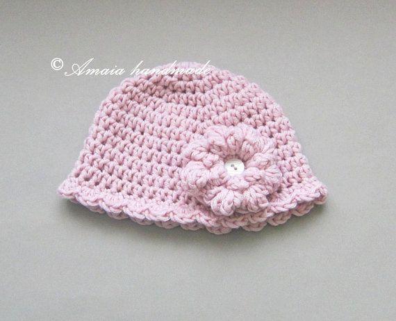 Gorro de ganchillo para bebe gorro rosa gorro por Amaiahandmade