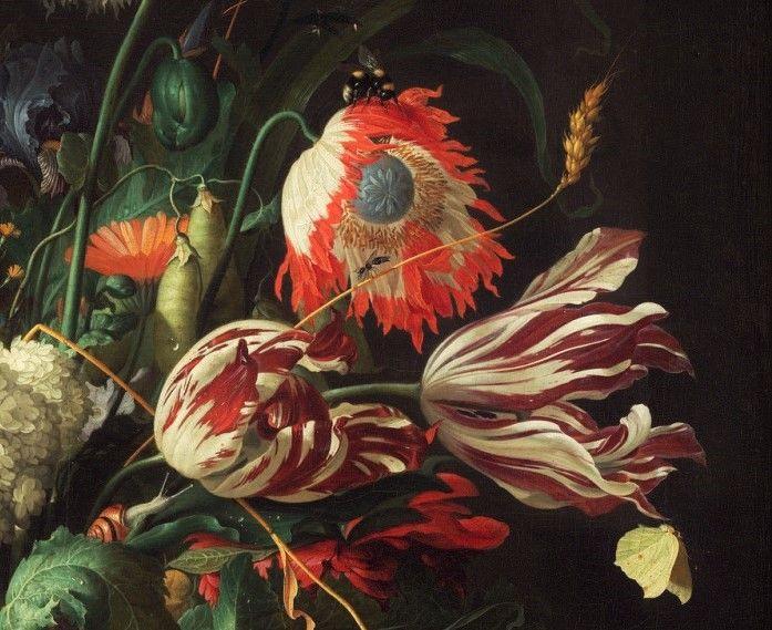 Enhanced detail from Jan Davidsz. de Heem (1606–1683/1684), Vase of Flowers, c. 1660.