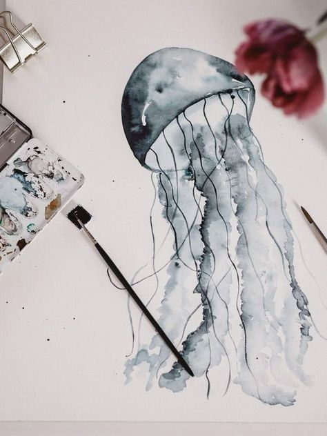 Tutorial: Watercolor Jellyfish / Aquarell Qualle malen für Anfänger – jolimanoli