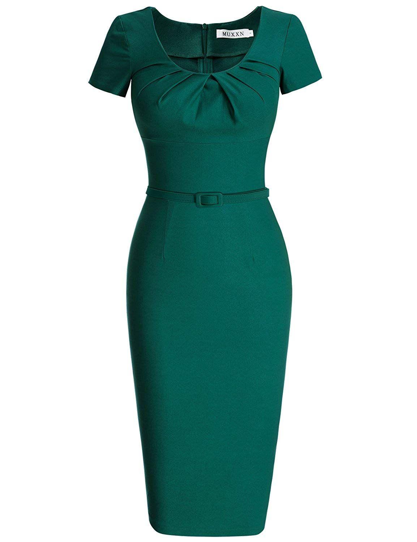 muxxn damen 1950 vintage short sleeve plissee-bleistift