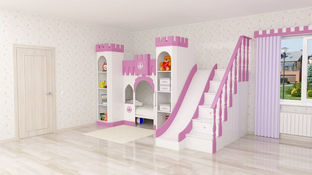 princess loft bed Google Search Slide and stairs on same