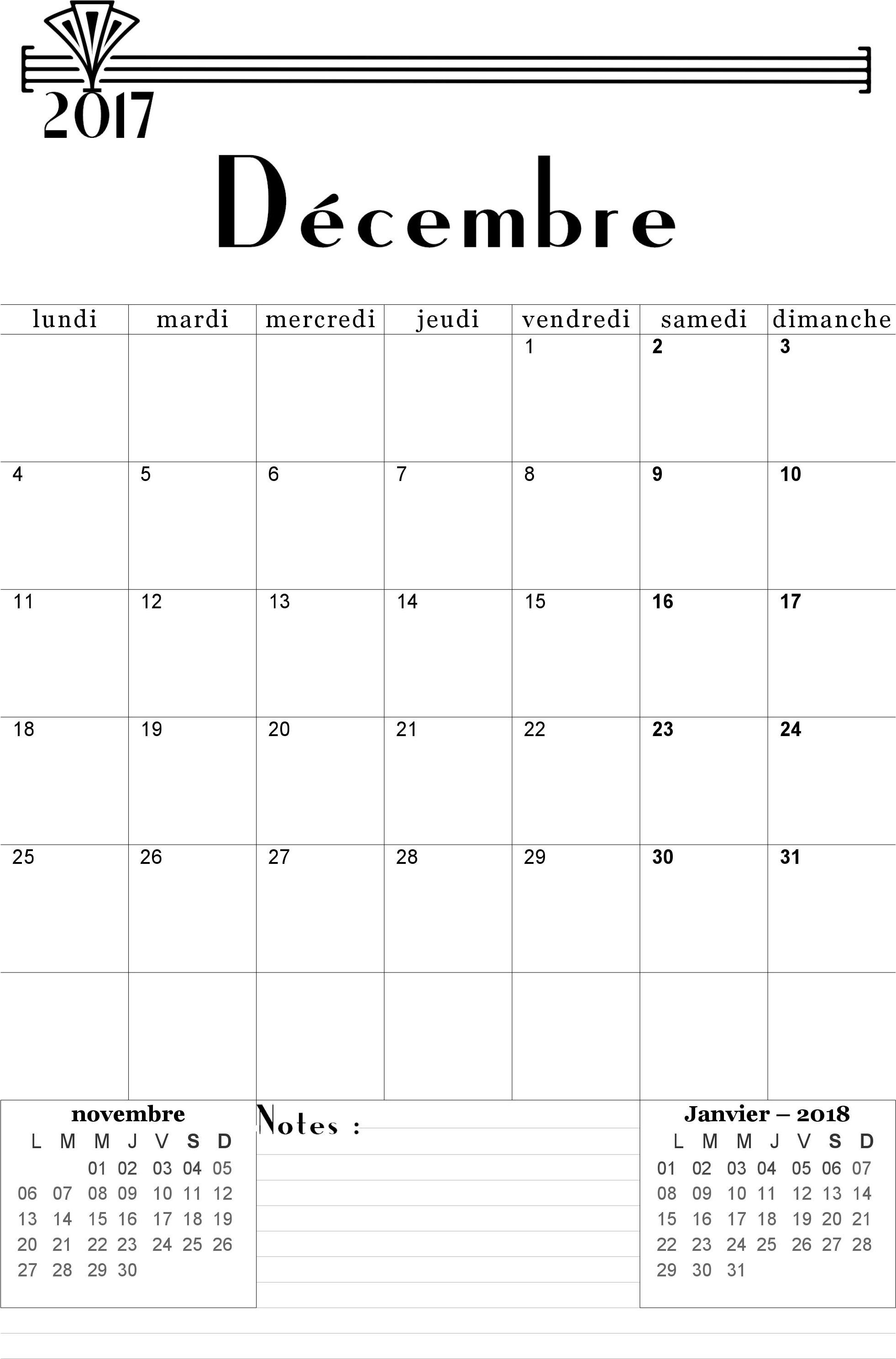 Assez Calendrier Décembre 2017 à imprimer. | Calendrier 2018 | Pinterest  IG65