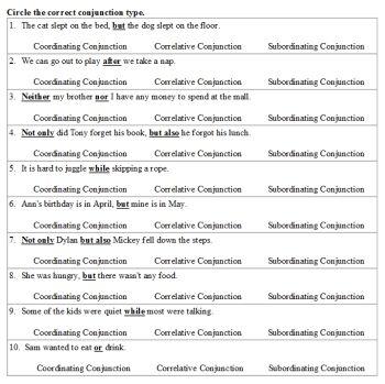 Worksheets For Grade 2 On Conjunctions | worksheet example