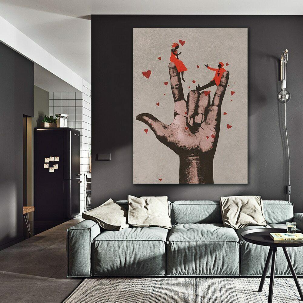 Big Hand Love Hearts Canvas Painting Living Room Bedroom Wall Art Home Decor Fashion Home Picture Wall Living Room Bedroom Wall Paint Modern Wall Art Canvas