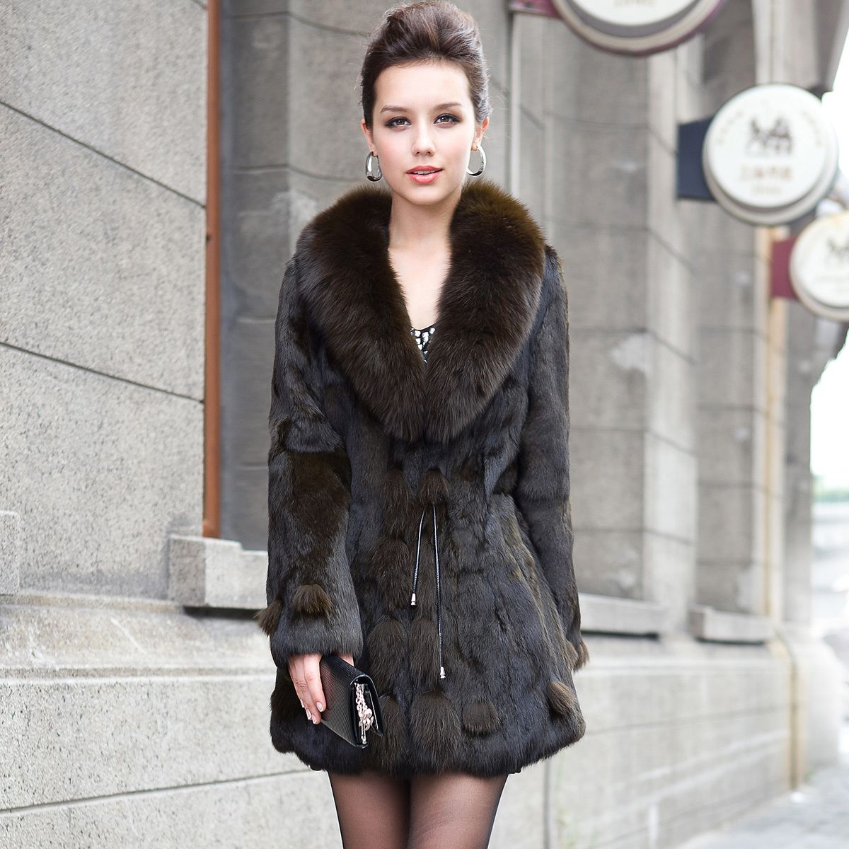 genuine fleece fur coat with sheep skin leather women's ... | My ...