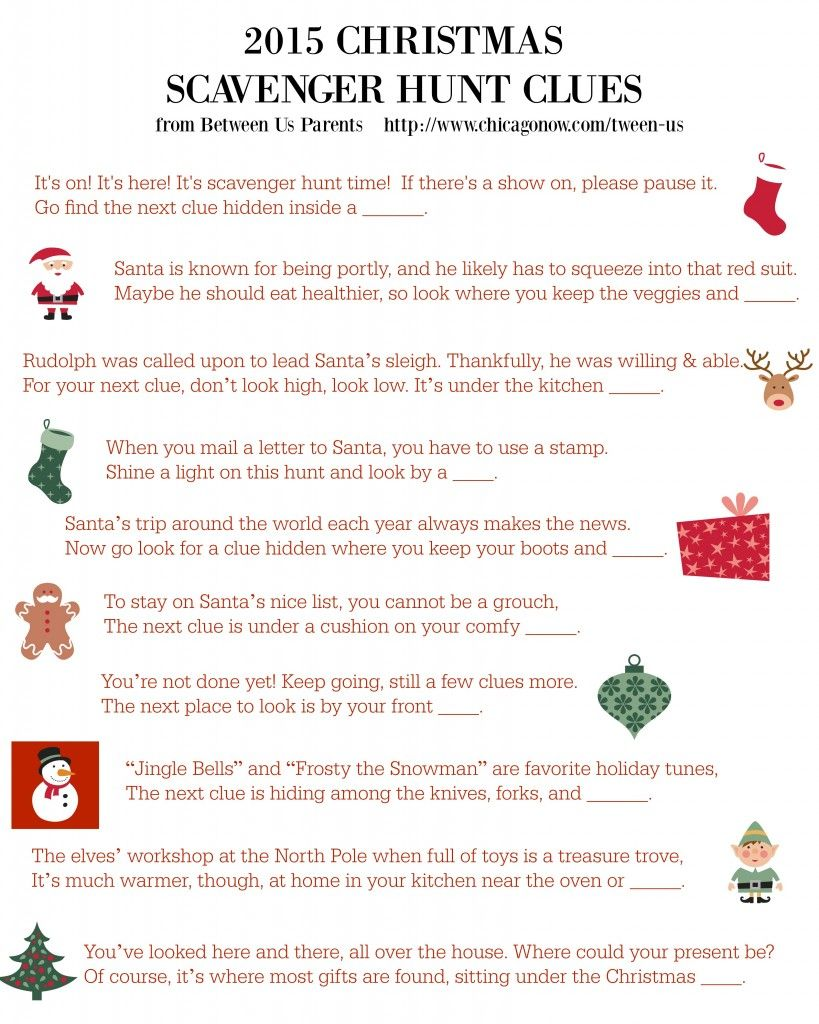 A holiday scavenger hunt can be a ton of fun. Get printable Christmas  scavenger hunt clues here that take the seeker all over the house.