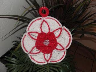 My Crochet , Mis Tejidos: Agarradera  hecha con Circulos tejidos.
