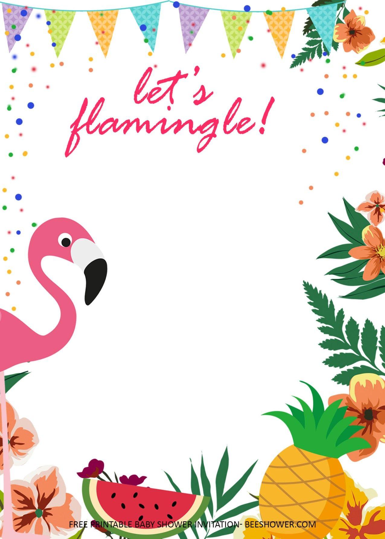flamingo birthday party invitations