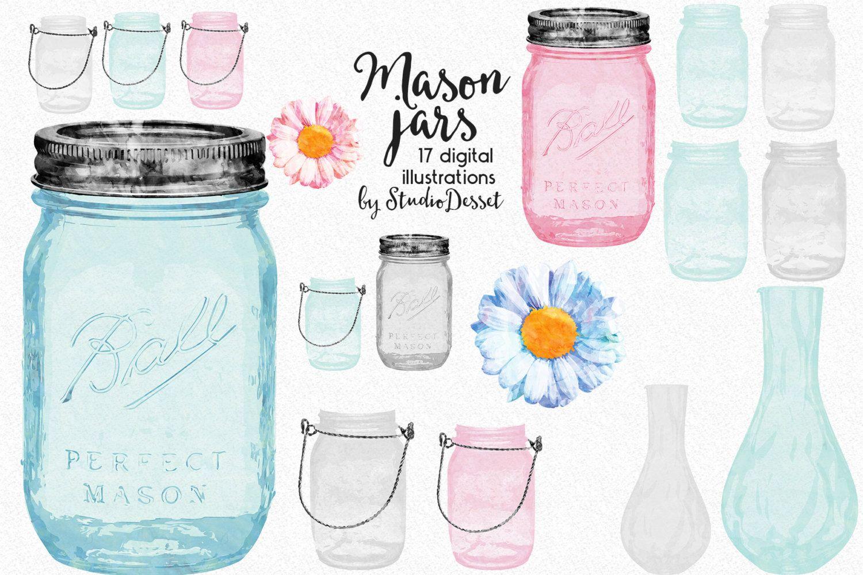 Mason Jars Cliparts Watercolor Jars Vases Clip Art Daisy