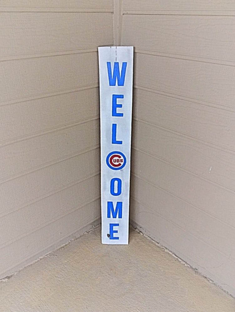 Cubs Welcome Porch Sign Cubs Welcome Sign Mlb Sign Porch Sign For