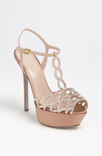 4231825ded7 Sergio Rossi  Crystal Vague Platform Nude Heels