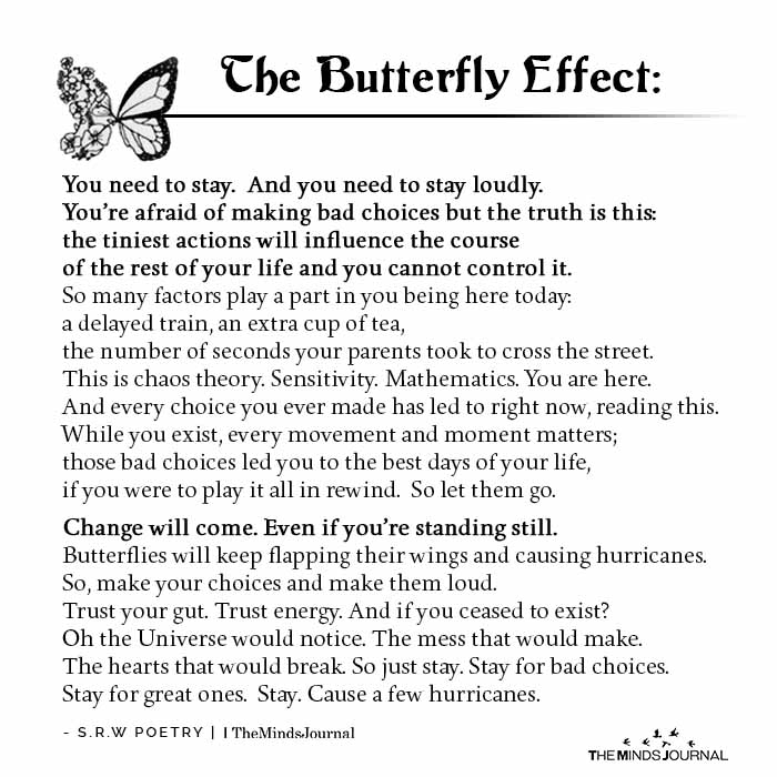 The butterfly effect: You need to stay. And you need to stay loudly.