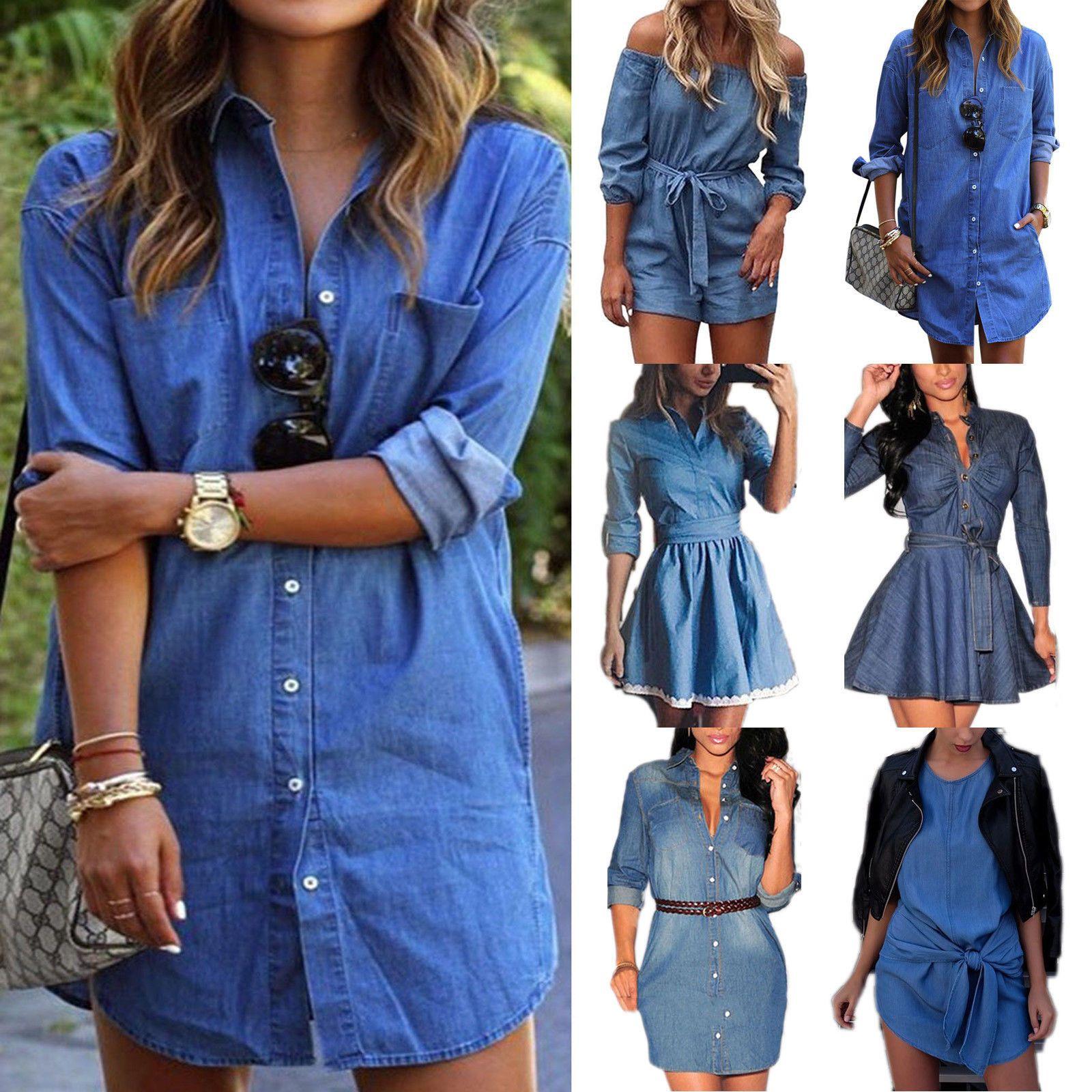 Damen Schulterfrei Strandkleid Hemdkleid Longshirt Minikleid Kaftan Sommerkleid