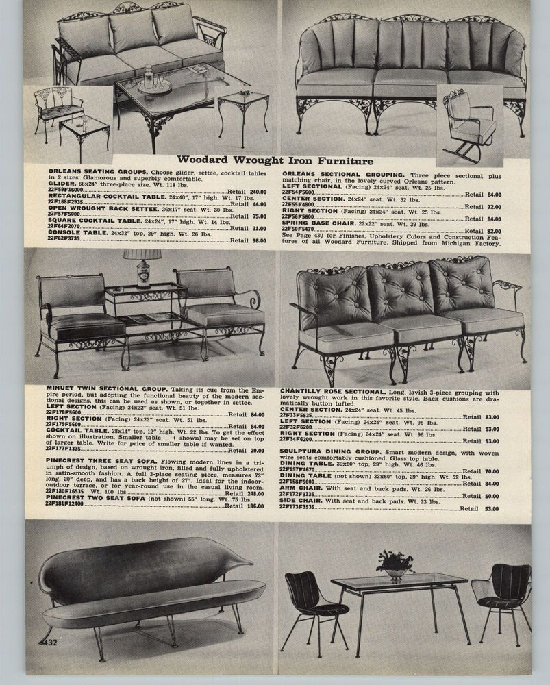 1959 Paper Ad 3 Pg Woodard Wrought Iron Outdoor Patio