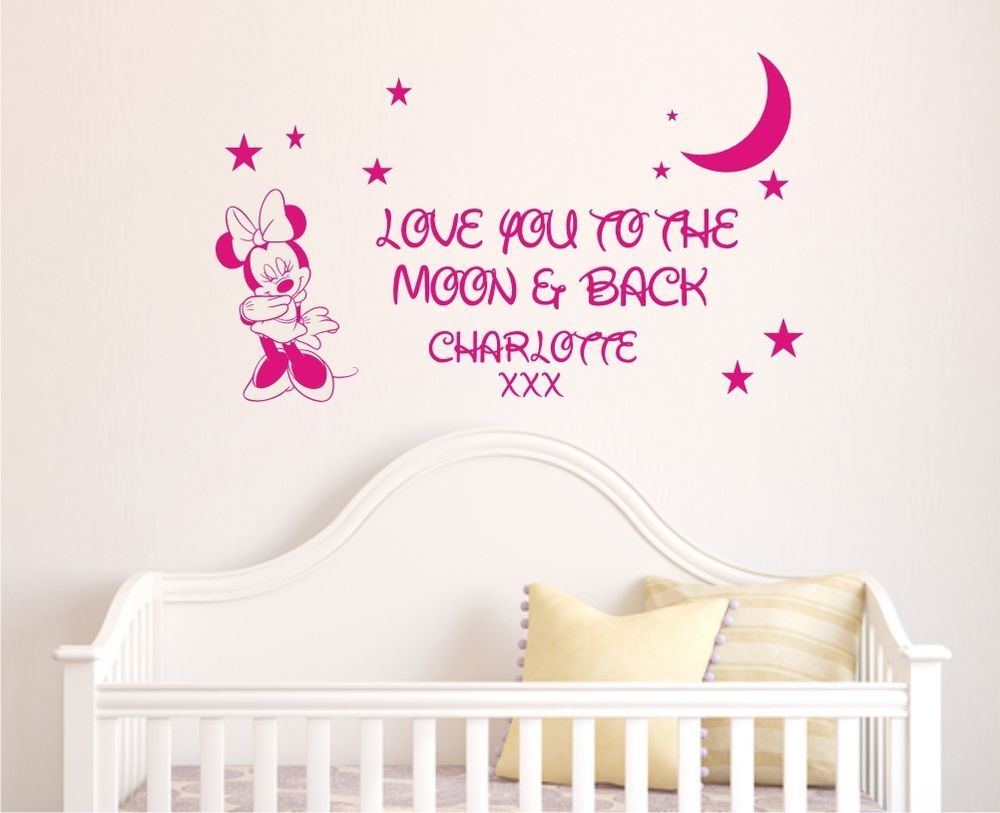 Sweet Dreams Minnie Mouse Personalised Girls Bedroom Vinyl Wall Art Stickers