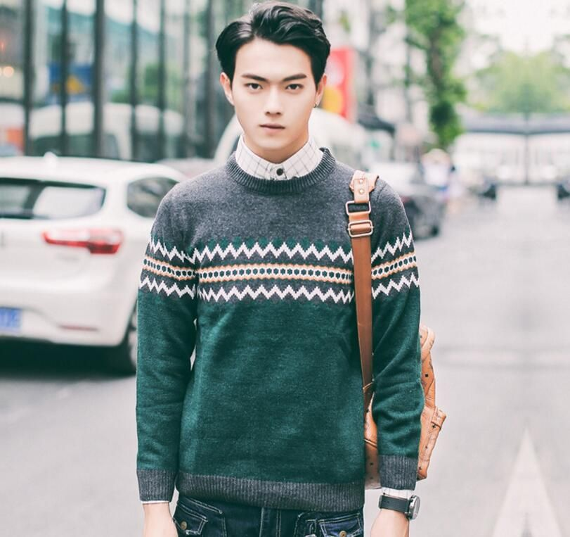 Autumn Korean men's knitted shirt slim stripe turtleneck sweaters ...