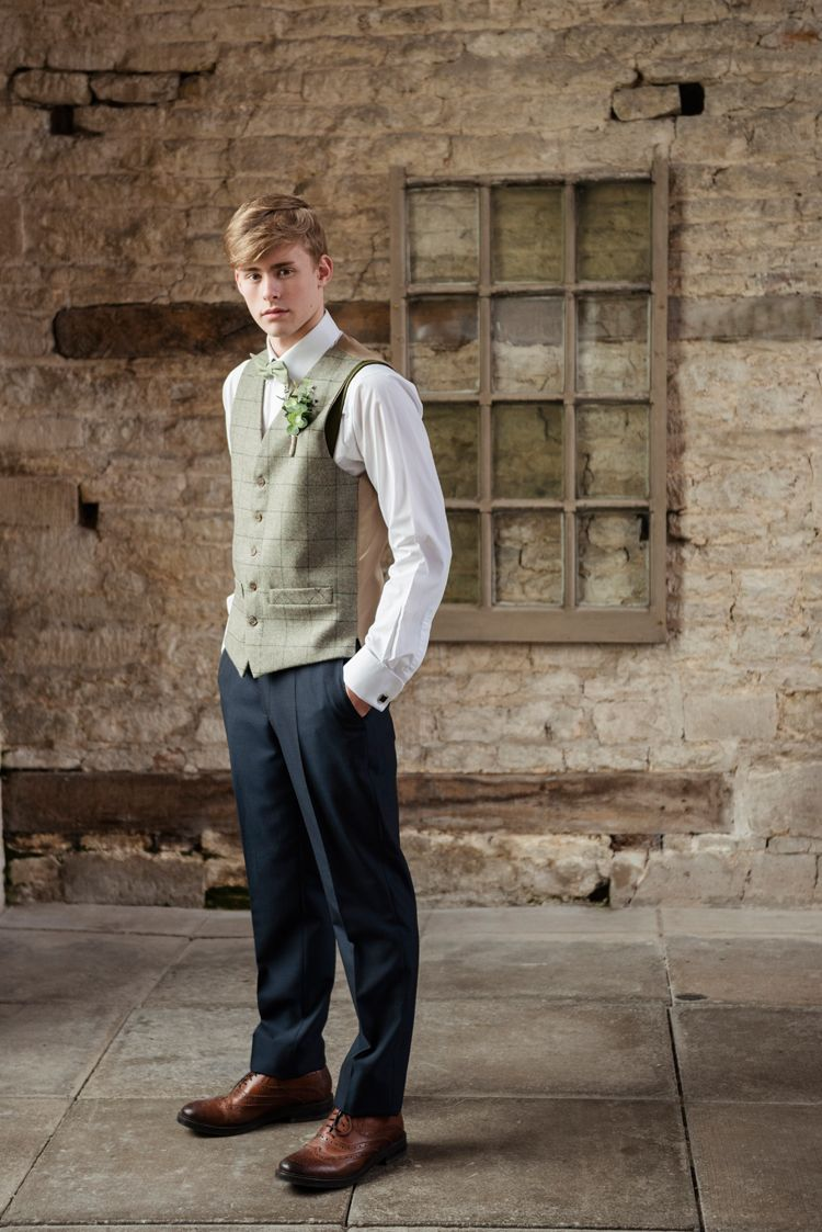 Green Tweed Waistcoat Groom Chinos Organic Foliage Rustic Wedding ...