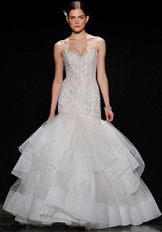 Lazaro 3410 Champagne Beaded And Embroidered Fit Flare Bridal Gown Strapless Sweetheart Neckline Elongated Bodice Tiered Tulle Horsehair Skirt