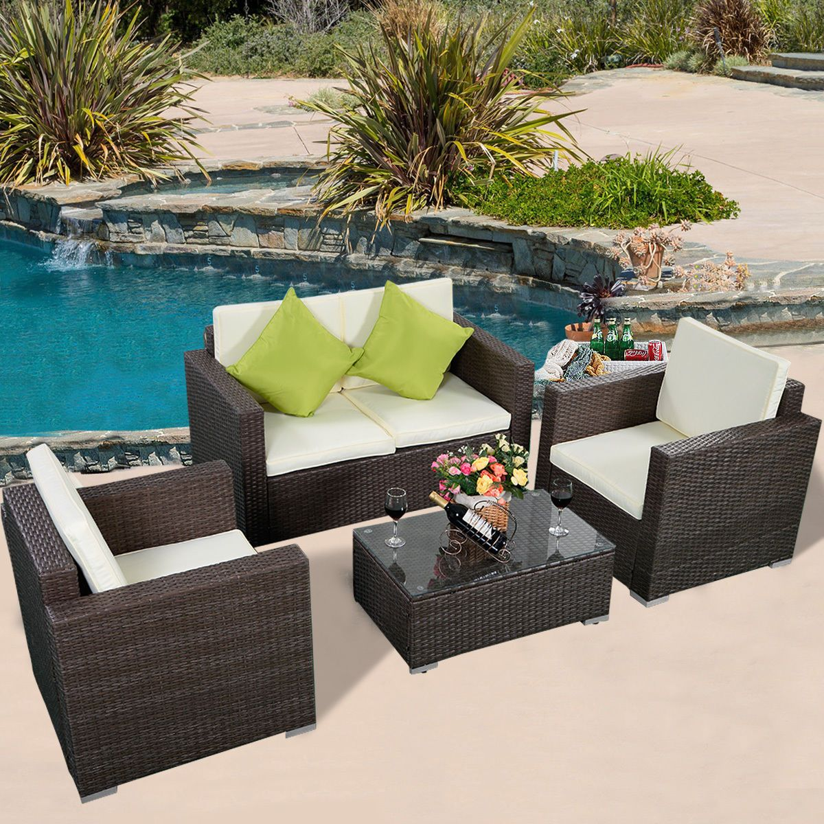 4pc Brown Wicker Rattan Sofa Furniture Set Patio Garden Lawn