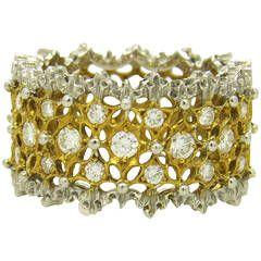 Buccellati Rombi Diamond White and Yellow Gold Band Ring