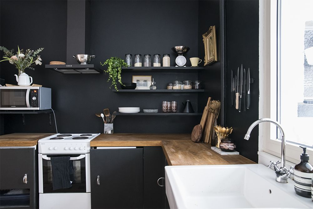 Best Home Renovation Black Walls In The Kitchen No Glitter 400 x 300