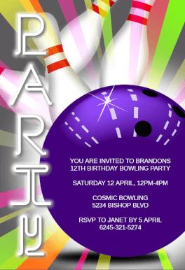 strike bowling free printable birthday invitation template