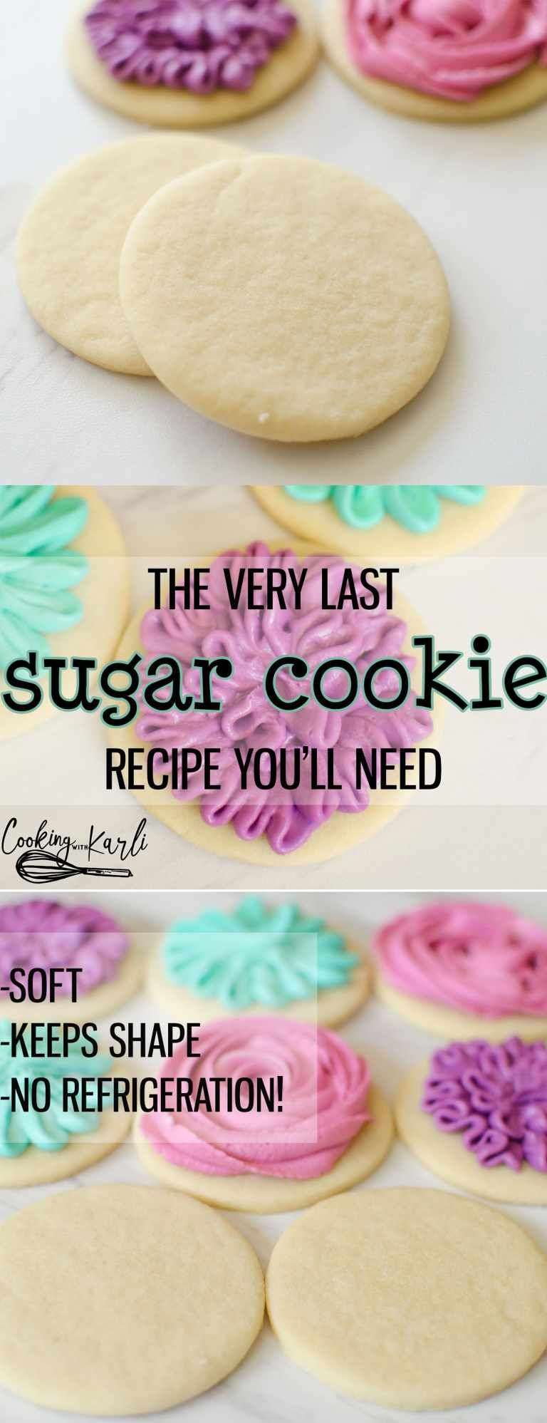 Perfect Sugar Cookie Recipe is really just that-PERFECT. These sugar cookies come together quickly with only 6 ingredients; butter, sugar, egg, vanilla, flour and baking soda. The cookies keep shape while baking, are soft and chewy, plus there is NO refrigeration! This Sugar Cookie recipe is PERFECTION! -Cooking with Karli- #sugarcookie #recipe #easy #fast #cutout #quickcookies