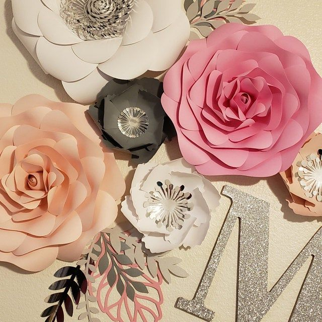 Large Paper Flower Wall Decor, White Pink Gold Floral Backdrop, Girl Room Decoration, Nursery ...