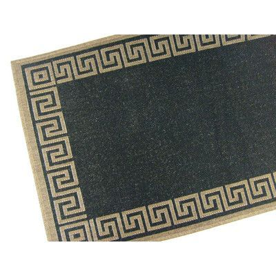 "American Mills Greek Key Black/Brown Geometric Indoor/Outdoor Area Rug Rug Size: 5'3"" x 7'6"""