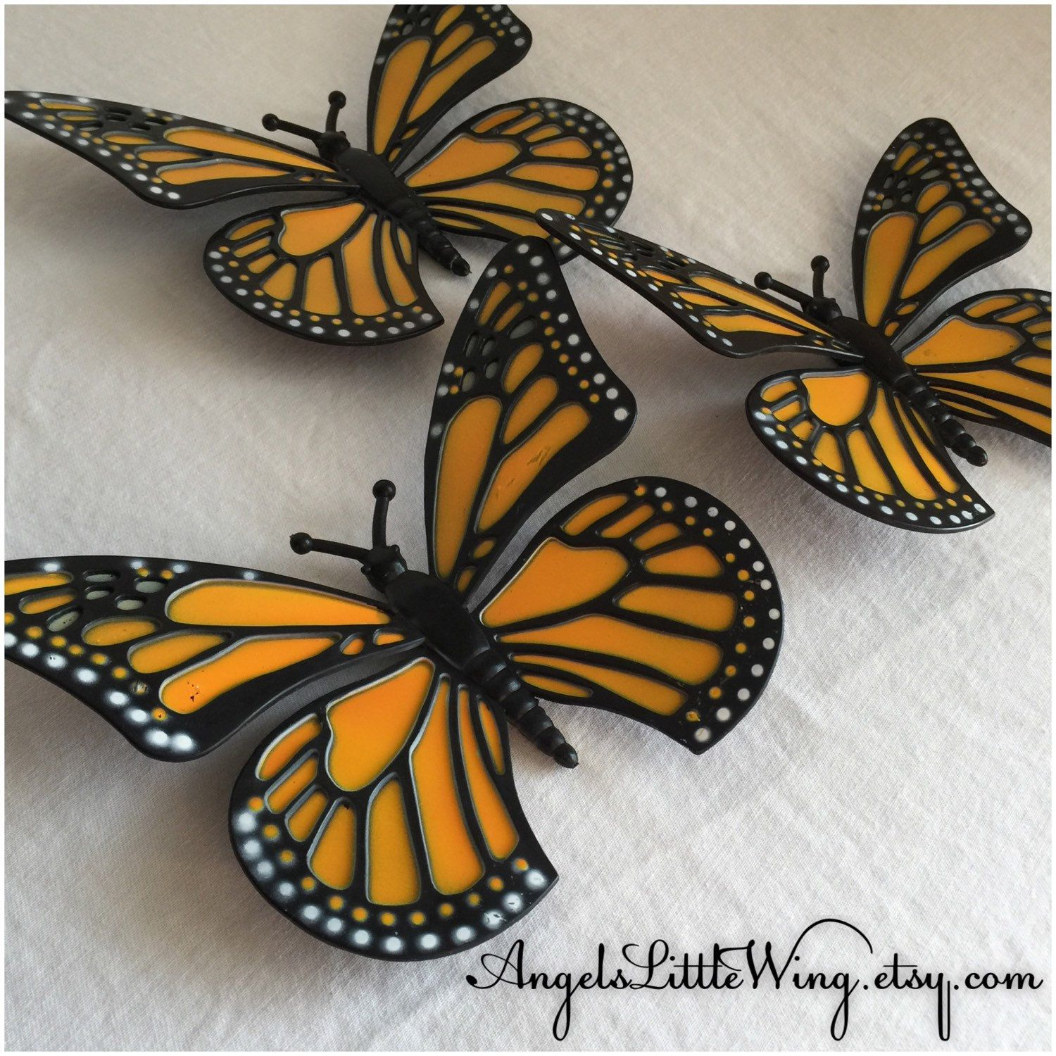 Set Of Three Rare Vintage 1989 Monarch Butterfly Wall Decor Etsy Butterfly Wall Decor Butterfly Wall 3d Butterfly Wall Art