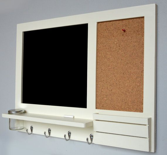 Chalkboard And Cork Board Noticeboard Mail Organiser In Grey