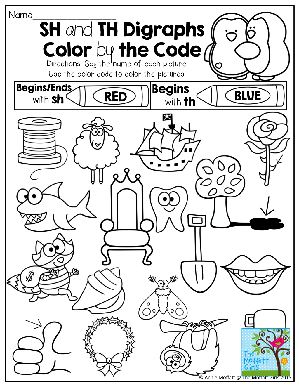 Coloring worksheets phonics - Beginning Digraphs Color By The Code Tons Of Fun And Engaging Printables