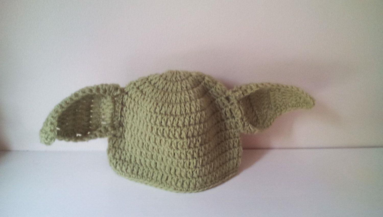 Crochet Yoda hat, baby Yoda hat, newborn Yoda hat, Yoda hat ...