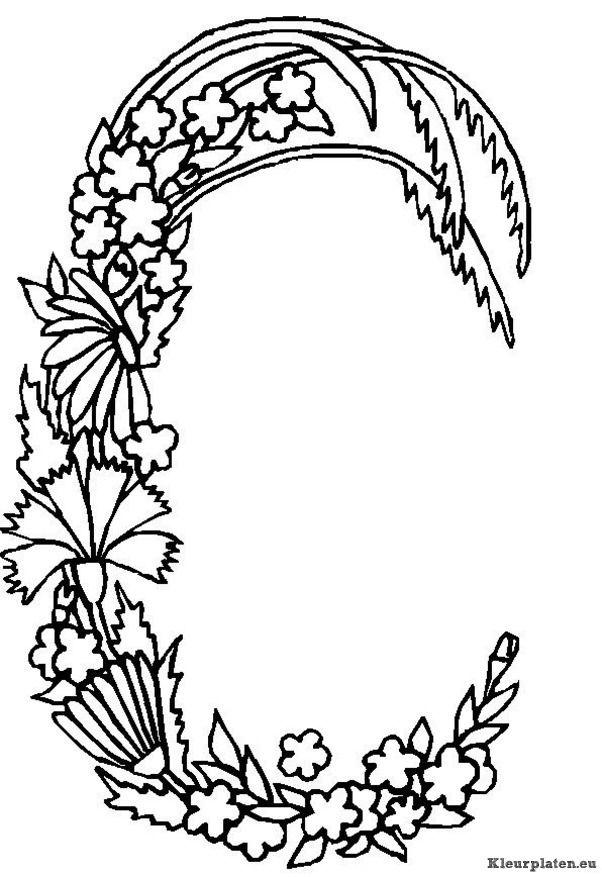 kleurplaten alfabet bloemen