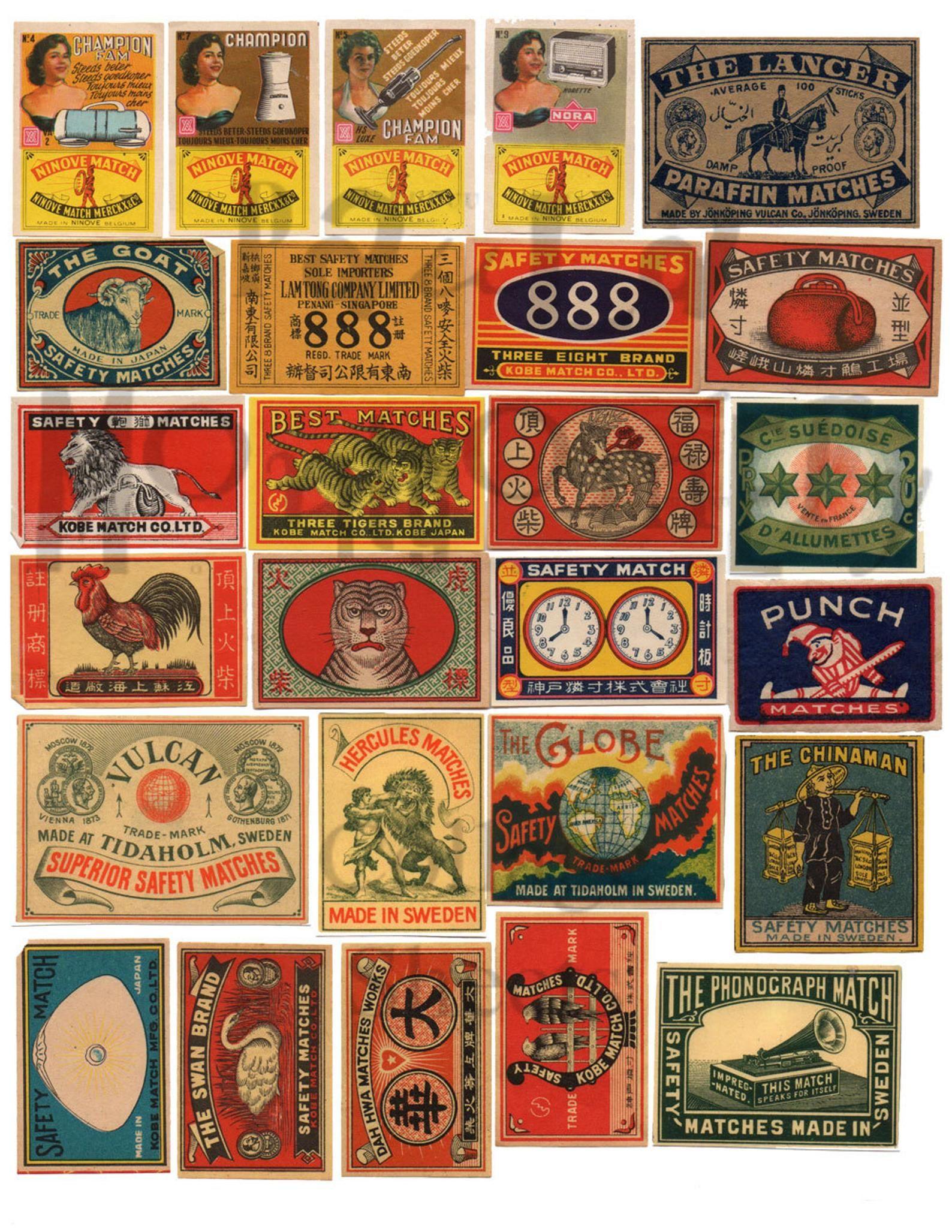 Vintage Matchbox Labels Number 1 Digital Download Collage Sheet