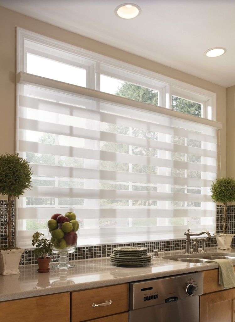 Sheer horizontal kitchen shades for wide windows blinds for Blinds for tall windows