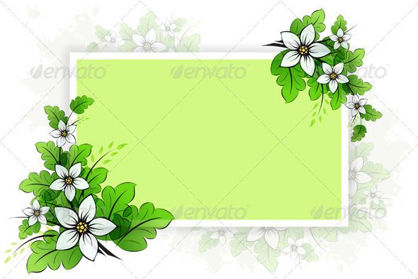 Flower Background With Empty Board For Your Design Flower
