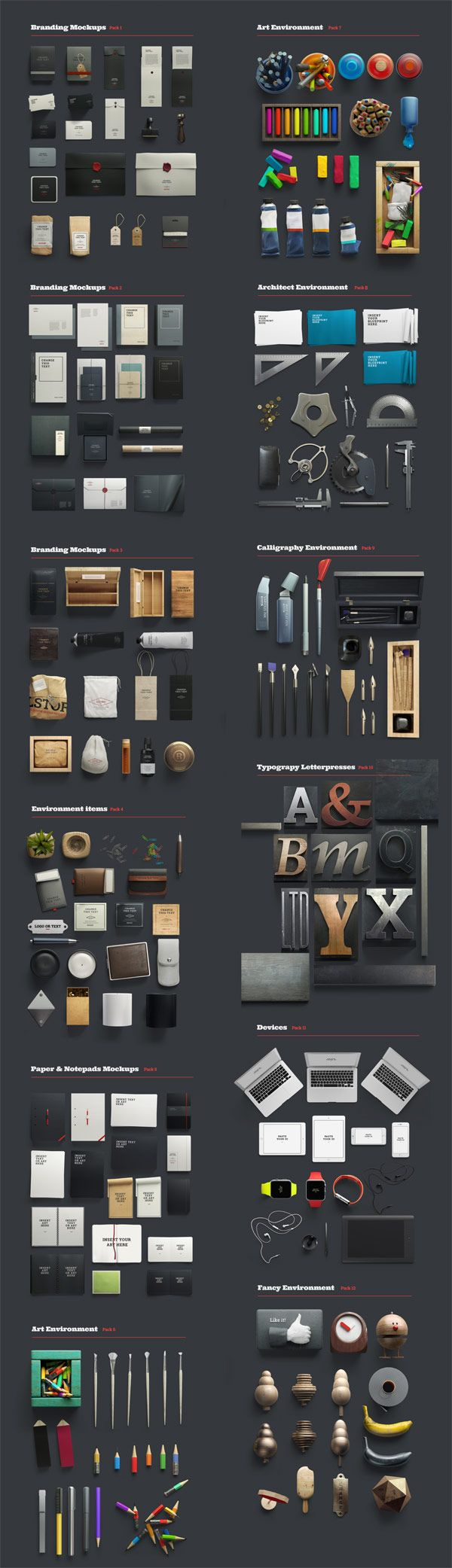 All the included items and objects from all 12 categories.