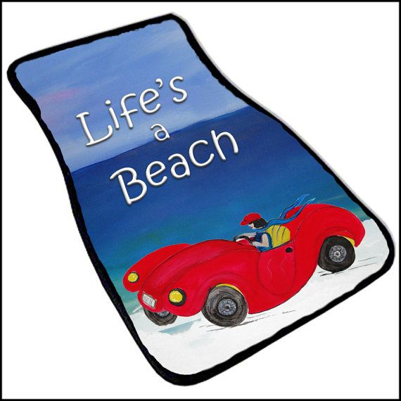 Life's a Beach Red convertibla  Art Car Mat set of 2 by maremade, $69.99
