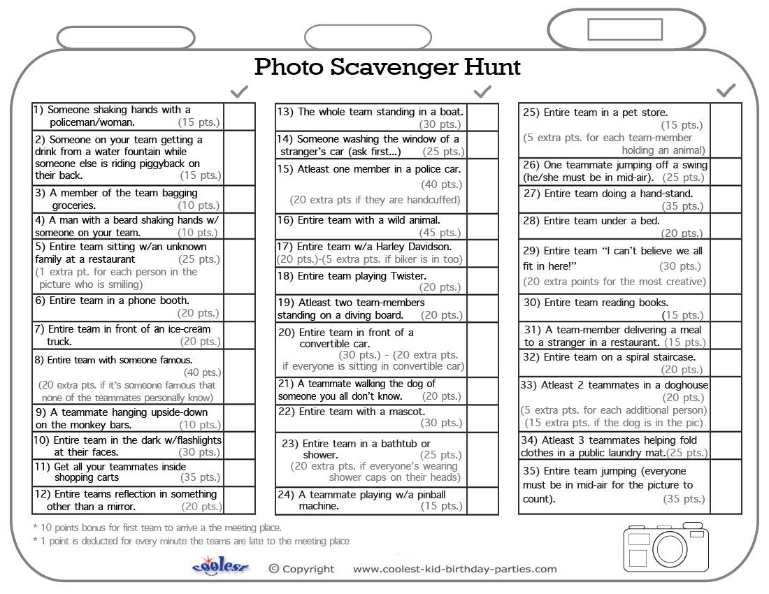 Printable Photo Scavenger Hunt List