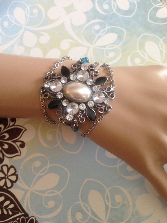Handmade Bracelet using a Vintage Rhinestone Brooch and Vintage Beads, Silver Tone Chains. OOAK. Recycled Jewelry. Repurposed Brooch on Etsy, $25.00