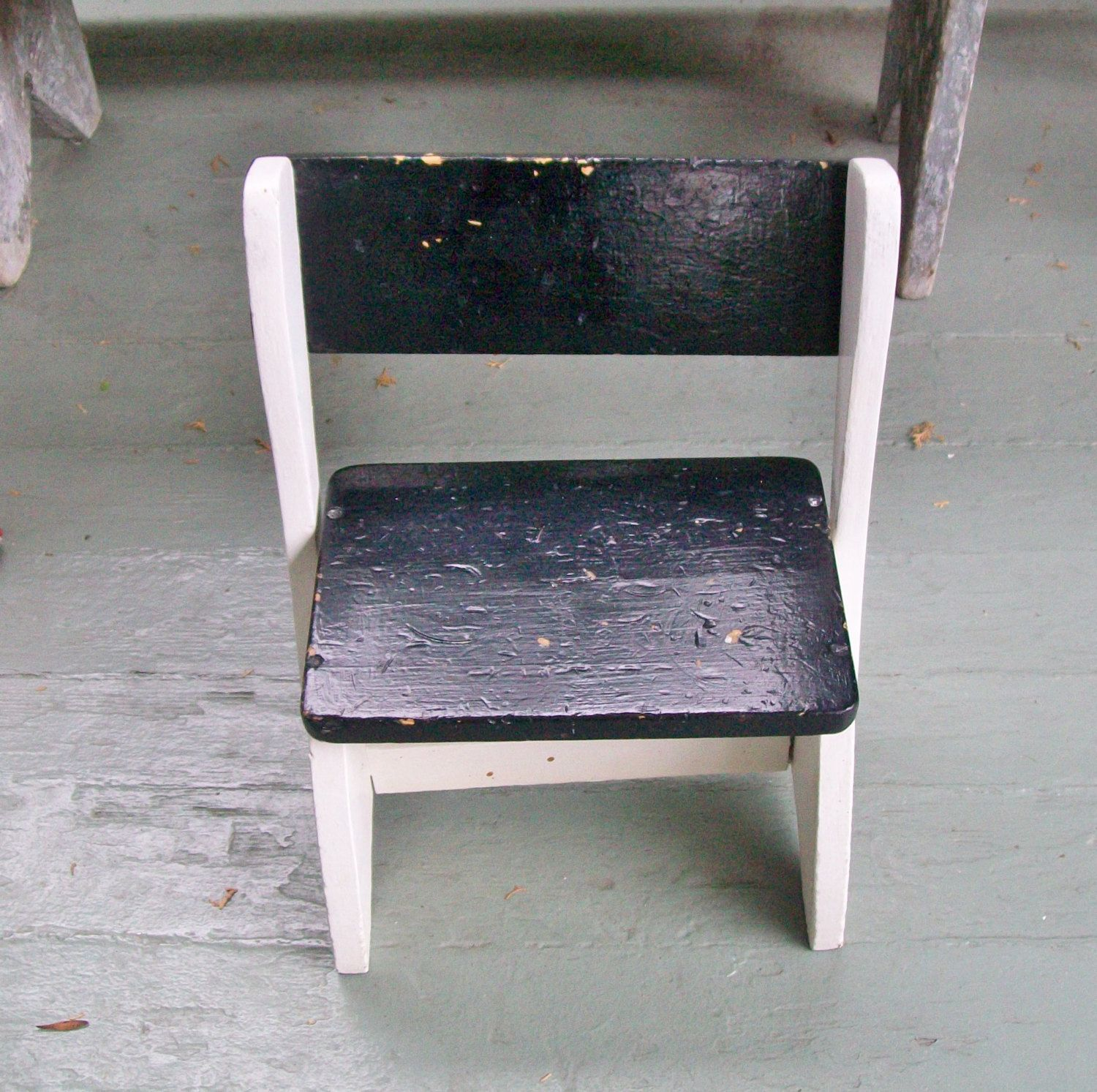 Vintage Childu0027s Stool Chair Black White Wooden Childu0027s Step Stool